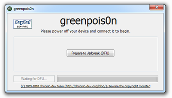 greenpois0n thumb Вышел еще один Jailbreak для iPhone 4.1/iPad3.2.2–GreenPois0n