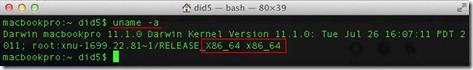 uname1 thumb Как запустить OS X Lion в 32 битном режиме