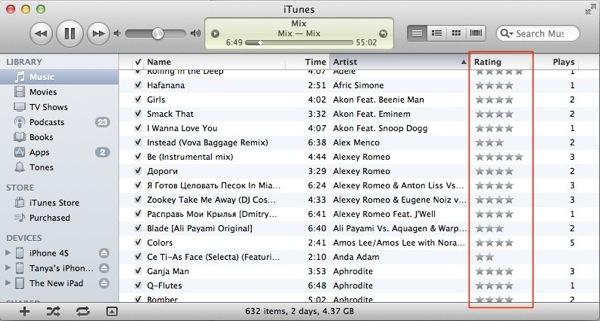 iTunes rating 1 Проставляем рейтинг треков в iTunes с клавиатуры
