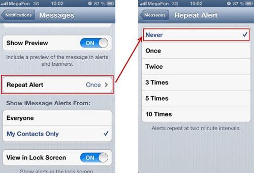 disable repeat alert msg iphone thumb Отключение двойного уведомления о сообщениях в iPhone