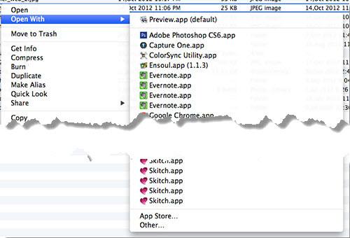 edit open with list macos 2 В меню Open With программы перечислены по несколько раз (OS X Mountain Lion)