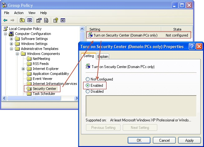 security center start 1 thumb Не запускается служба Security Center в Windows XP