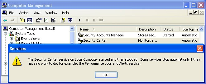 security center start 2 thumb Не запускается служба Security Center в Windows XP