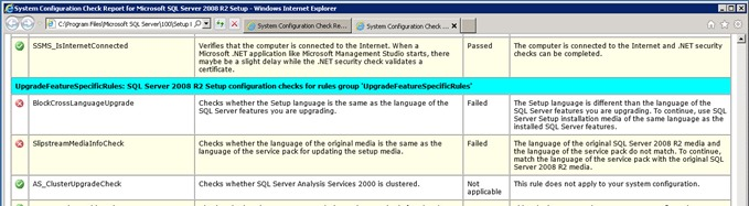 sql upgrade error 1 thumb Cross Language Upgrade при обновлении SQL Server 2008 Express до R2 на сервере SharePoint 2010