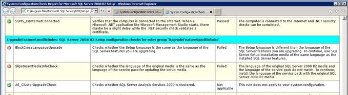 sql upgrade error 1 thumb Cross Language Upgrade при обновлении SQL Server 2008 Express до R2 на сервере SharePoint 2010