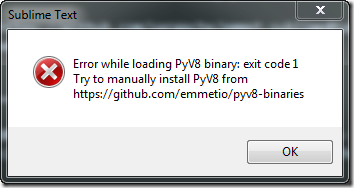 sublime text error pyv8 1 thumb Ошибка загрузки PyV8 при установке Emmet в Sublime Text 3