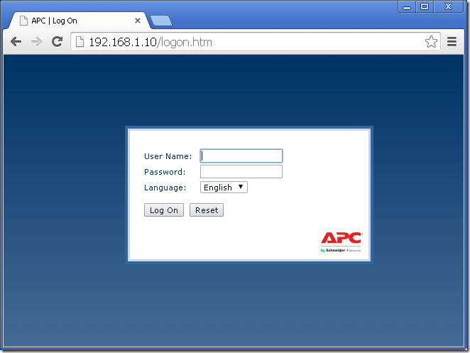 apc web thumb Настройка APC AP9631 UPS Network Management Card 2
