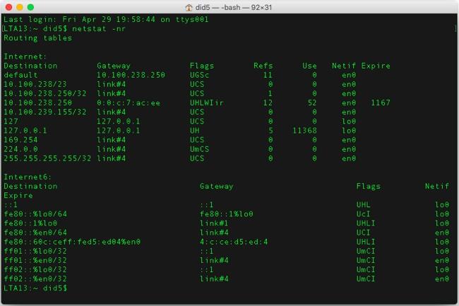 mac os x route table netstat web Как посмотреть, добавить и удалить маршрут в Mac OS X