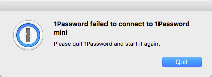 1password failed connection 1 Ошибка 1Password failed to connect to 1Password mini